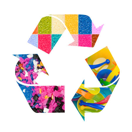 Plastic recycle sign with images of plastic Stock Photo - 12019672