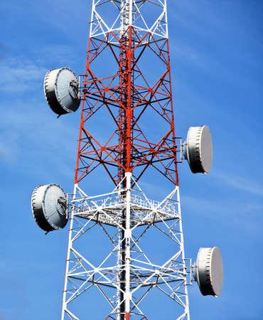 parabola: Transmitter tower with flat parabola Stock Photo