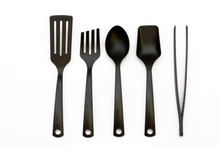 cooking ware: Plastic kitchen utensils and spatula and ladles  Stock Photo