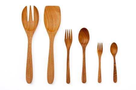 cuchara y tenedor: Utensilios de cocina de madera y esp�tulas y cucharas Foto de archivo