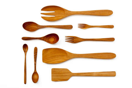 Wooden kitchen utensils and spatula and ladles photo