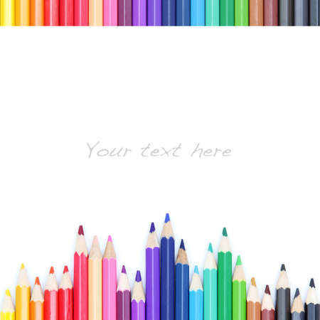 Color pencils on white background, as colorful border Stock Photo - 12901906