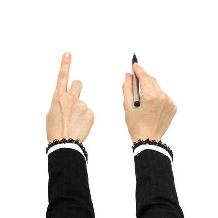 La mano de negocios que apunta y la escritura a mano de negocios aislados en blanco
