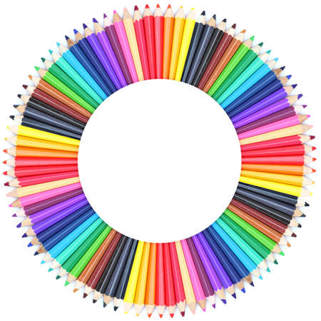 color chart: Circle color chart made of color pencils Stock Photo