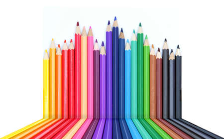 Color chart made of color pencils Stock Photo