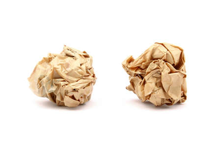 Brown crumbled papaer on white background Stock Photo