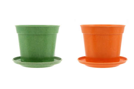 Generic flower pots in green and orange color on white background