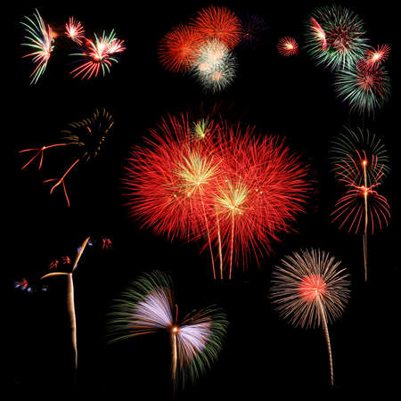 Colorful fireworks over black background Stock Photo