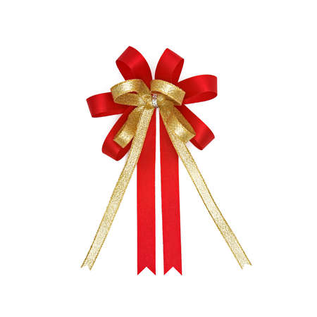 Red and gold gift ribbon isolated on white Stock Photo