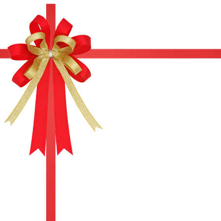 Orange and gold satin gift ribbon on gift box Stock Photo