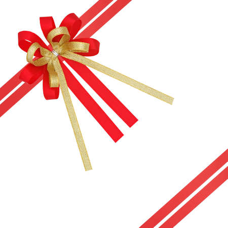 Red and gold satin gift ribbon , with double cross lines, isolated on white