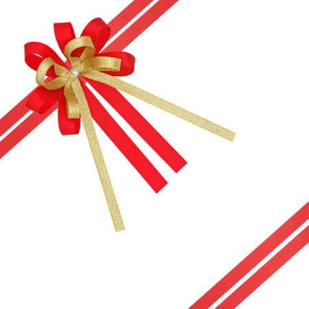 Roja y de la cinta de regalo de oro satinado, con l�neas transversales dobles, aislado en blanco Foto de archivo