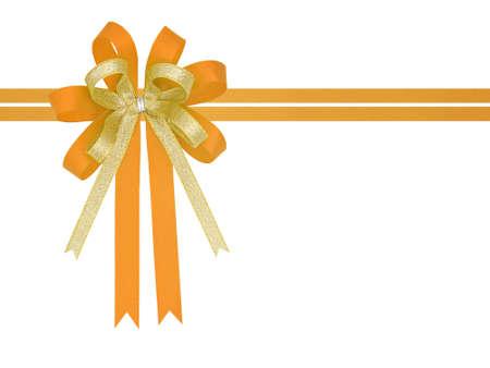 Orange and gold satin gift ribbon bow on white background