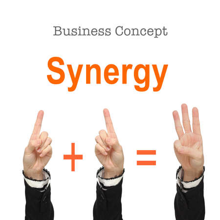 synergy: Business woman hand show synergy concept