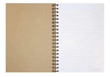 note book: Nota libro aperto su sfondo bianco Archivio Fotografico