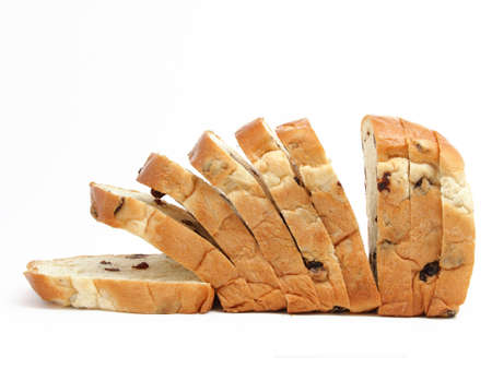 Sliced bread with raisin isolated on white background