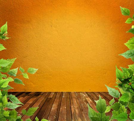 Muro de hormig�n y piso de madera con permiso, de estilo vintage Foto de archivo