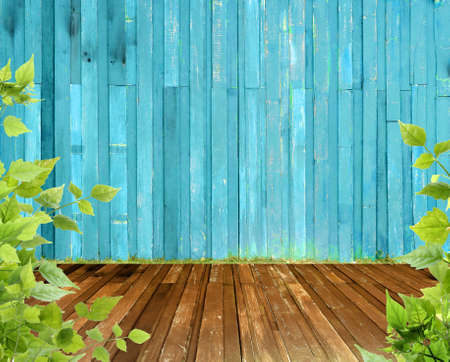 Vintage wood paneled wall and wood floor in the garden