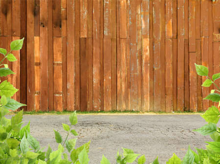 Wood fence with concrete street and leaves Stock Photo
