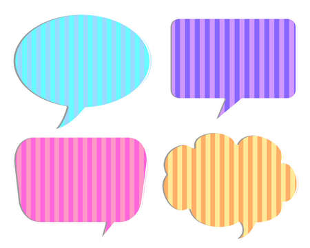 Colorful speech bubbles from striped background photo