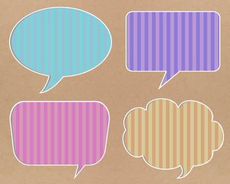 Colorful speech bubbles on recycle paper background