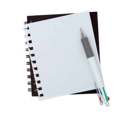 Notebook paper with pen on white background Stock Photo
