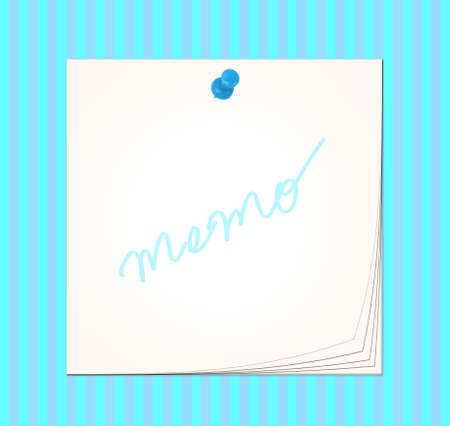 Post-it memo with pin on colorful striped background Stock Photo