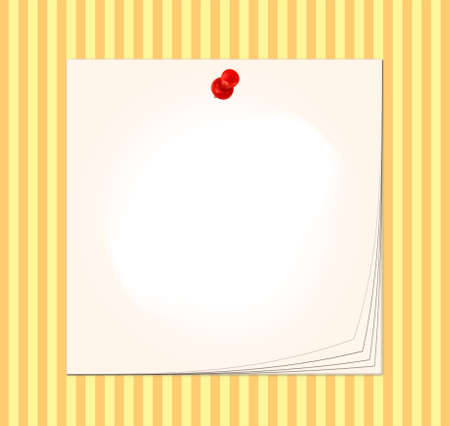Post it note pad with pin on striped background