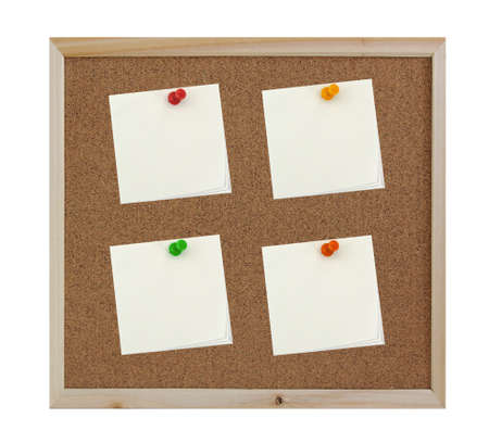 4 Post-it notes with pin on corkboard background