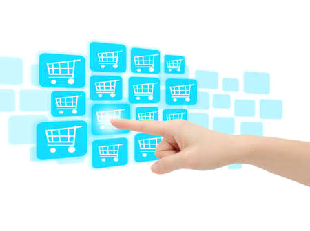 Online shopping, hand pressing button Stock Photo