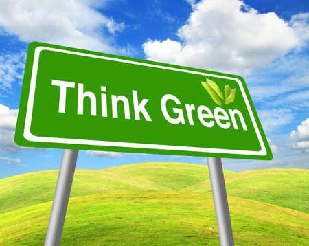 Piense en se�al verde sobre campo de hierba y cielo azul