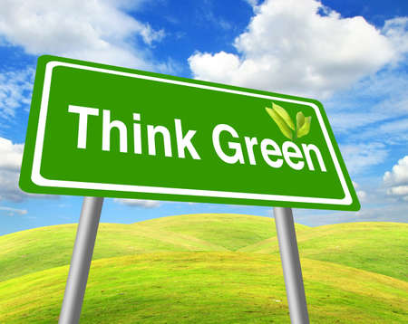 Think green sign over grass field and blue sky