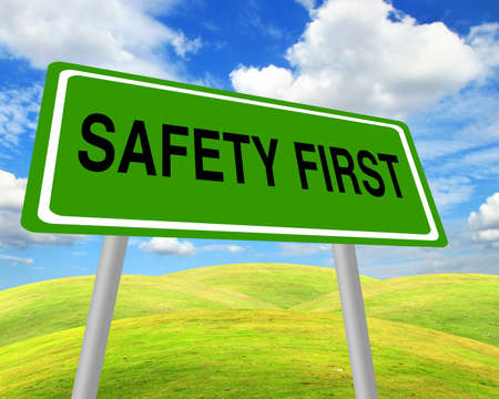 Safety first sign over environment field Stock Photo - 13766077