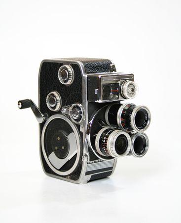 crank: Antiguo cine c�mara de cine de 8 mm con turrent y biela.
