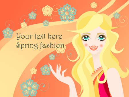 Spring fashionable girl Illustration