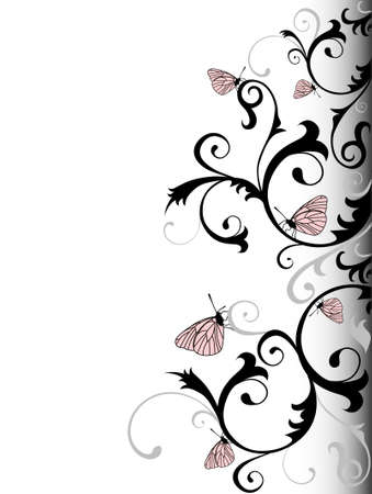 papillon rose: Vector Illustration de fond �l�gance avec Papillons Illustration