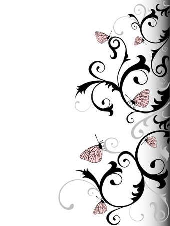Illustrazione vettoriale di sfondo Elegance con farfalle