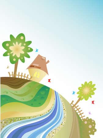 cottage fence: Green Planet Illustration