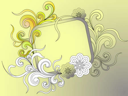 banner or frame for text with floral elements Illustration