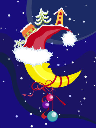 Vector Christmas & New-Years moon Illustration