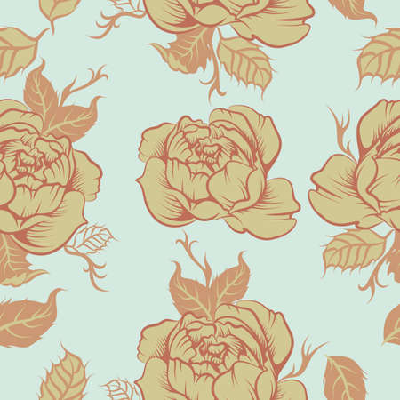 Seamless peony vector pattern Illustration