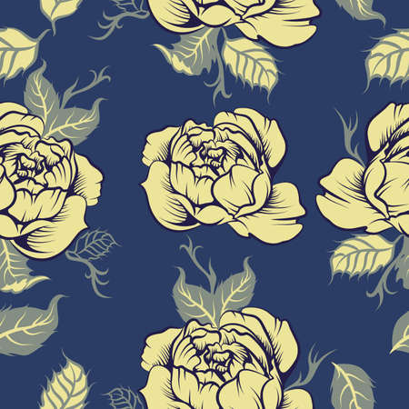 Seamless peony vector pattern in blue Illustration
