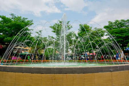 garden fountain: fountain, garden, grain, grass, green Editorial