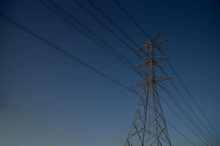 Säule Elektrischen Hintergrund Blauer Himmel Drähte Stahl Macht Turm ...