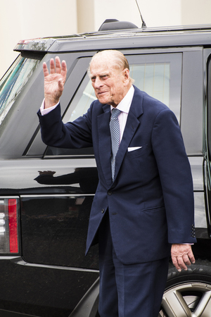 His Royal Highness Prince Phillip Duke of Edinburgh waves to the crowd at the Railway Station Coleraine Co.Londonderry Northern Ireland on 28th June 2016. He along with the Queen was boarding a Steam Train to Londonderry. This was part of a two day visit