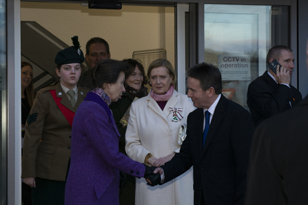 Queen Street Coleraine, Co Londonderry, Northern Ireland Thursday 7th February 2019. HRH Princess Anne attends the opening of Coleraine Library as part of a one day visit to Northern Ireland 新闻类图片