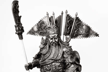 Black and white Statuette Of Guan Yu  photo