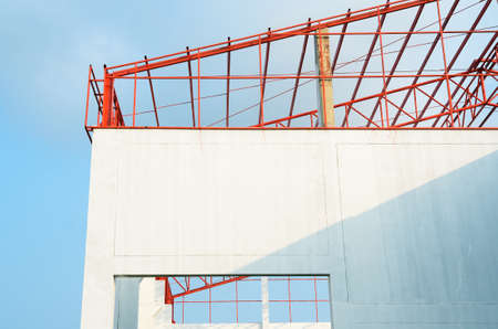 Construction site of small factory  Stock Photo