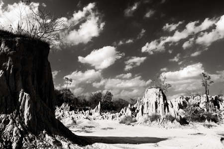 Rocky mountain with ,Black and white photo