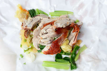 Dumpling with roasted duck on Paper plate photo